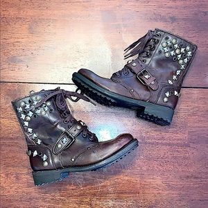 Ash Brown Leather Studded Moto/Combat Boots